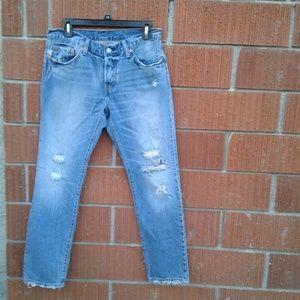 levis 501 ct 27 × 27 blue jean destroyed crop